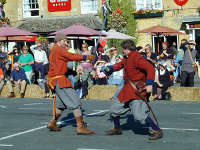 Colonel J Pickering's regiment of the Sealed Knot demonstrate sword fighting at the 2009 Cotswold Festival