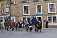Colonel J Pickering's regiment of the Sealed Knot march into Stow on the Wold Town Square