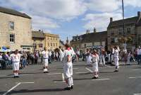 Chipping Campden Morris Men Dancing in Stow on the Wold Town Square during the 2009 Cotswold Festival