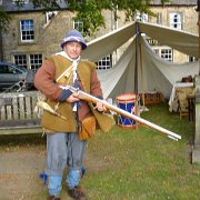 A musketeer of The Sealed Knot in English Civil War costume