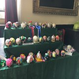 Display of painted sheep from pupils at Stow Primary School