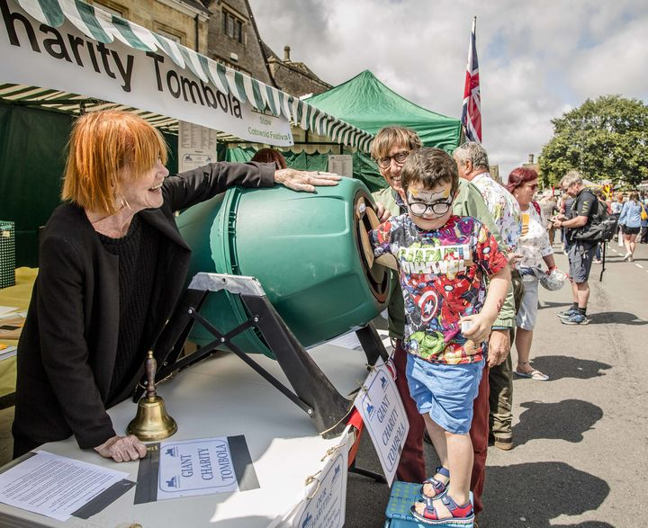 Playing the Tombola at the 2019 Stow Cotswold Festival