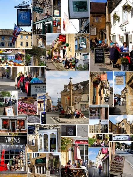 A montage of images of Stow on the Wold showing shops, pubs and people enjoying Cotswold sunshine