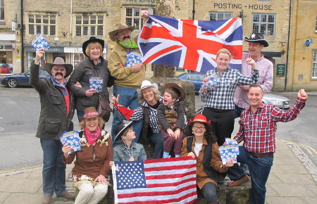 Yee ha! USA and UK flags at Stow's market cross